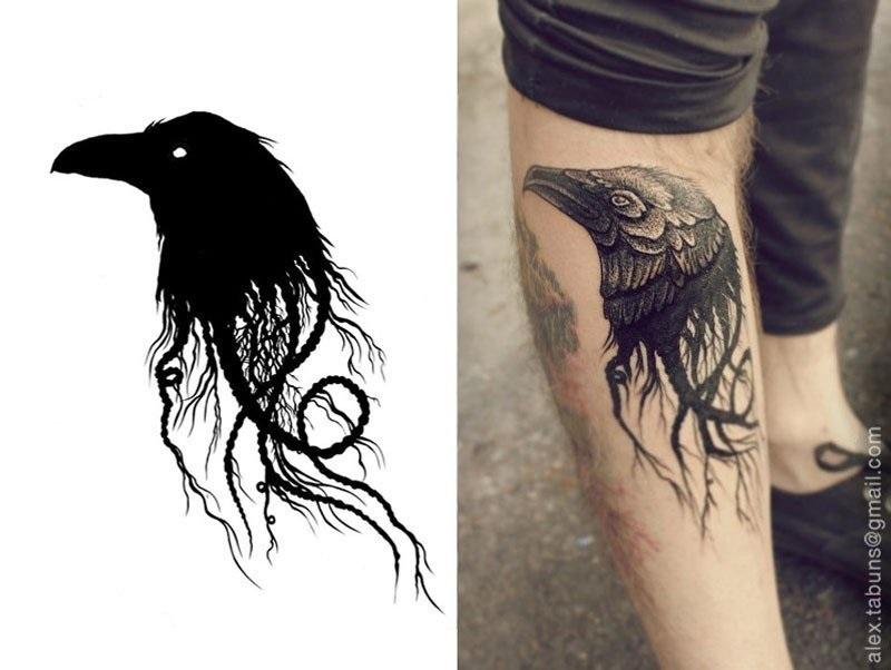 Ворона рисунок тату и эскизы021