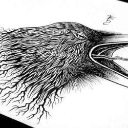 Ворона рисунок тату и эскизы022
