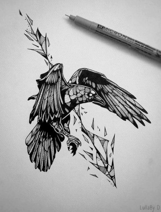 Ворона рисунок тату и эскизы023