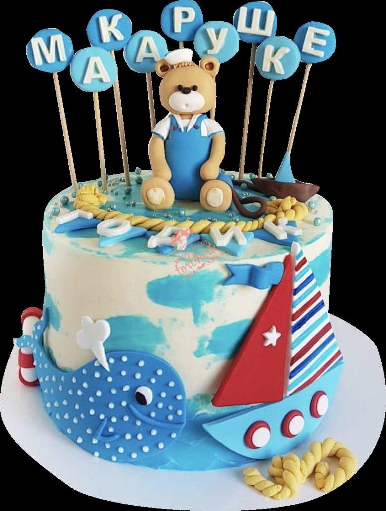 Детский торт с морской тематикой001