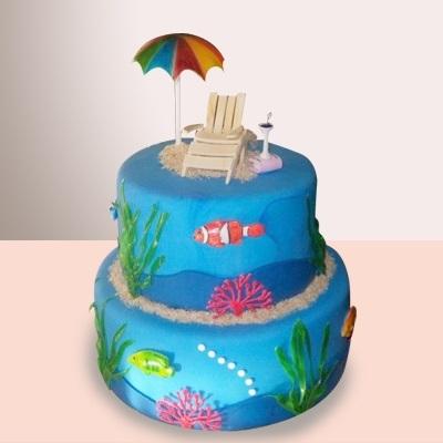 Детский торт с морской тематикой014