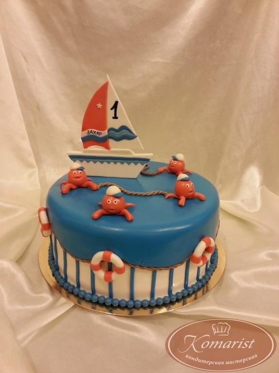 Детский торт с морской тематикой019