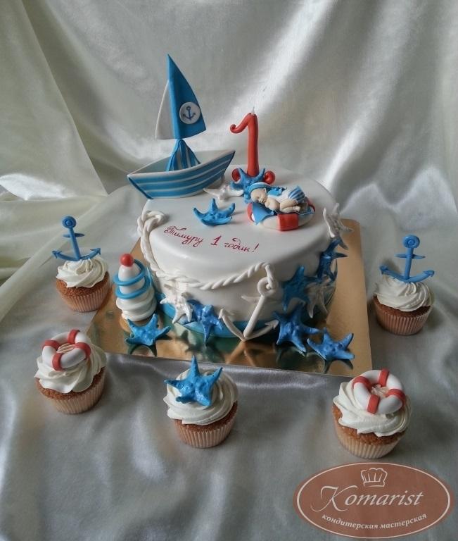 Детский торт с морской тематикой020