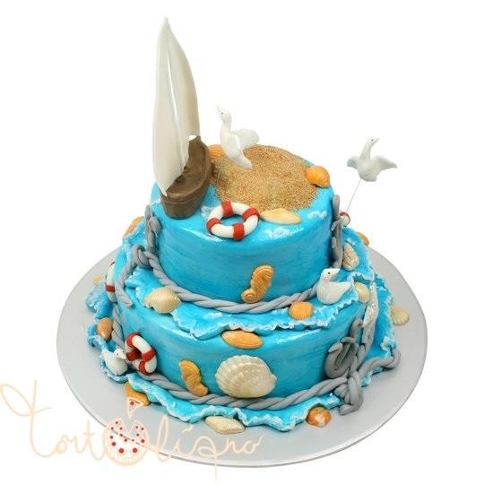 Детский торт с морской тематикой024