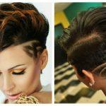 Женские рисунки на волосах машинкой
