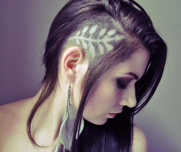 Женские рисунки на волосах машинкой (5)