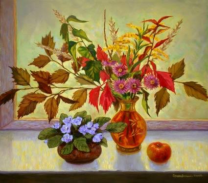 Как нарисовать вазу с осенними листьями поэтапно - подборка (10)