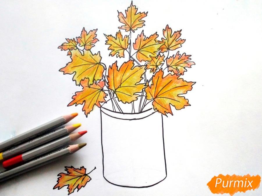 Как нарисовать вазу с осенними листьями поэтапно - подборка (22)