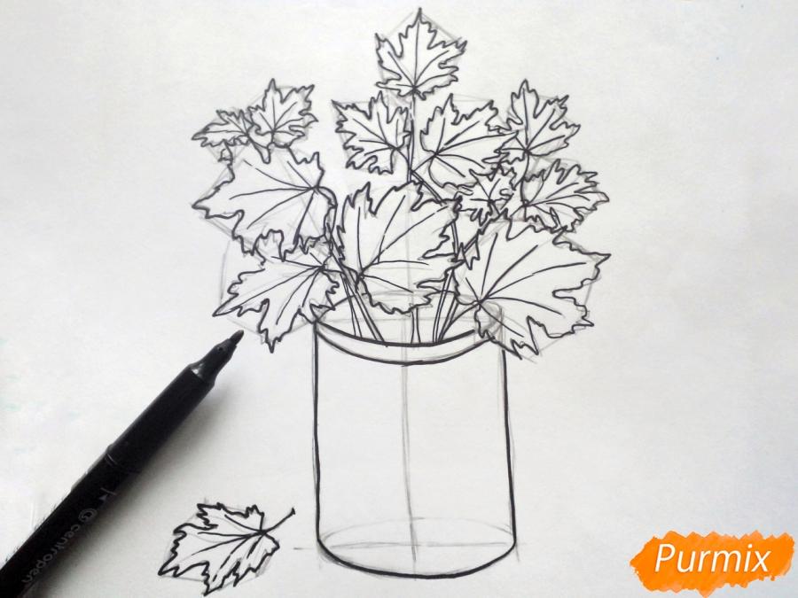 Как нарисовать вазу с осенними листьями поэтапно - подборка (23)