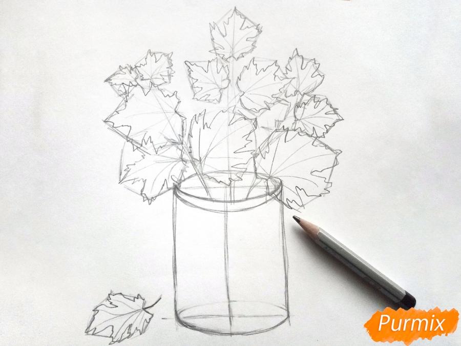 провела картинки для раскрашивания ваза с листьями городе стояла жара
