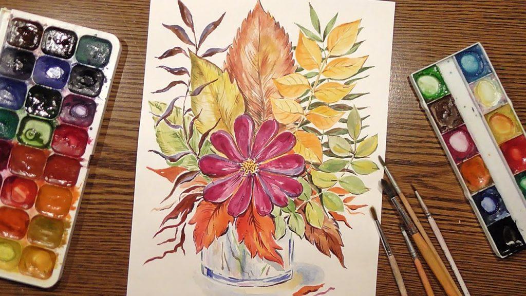 Как нарисовать вазу с осенними листьями поэтапно - подборка (25)