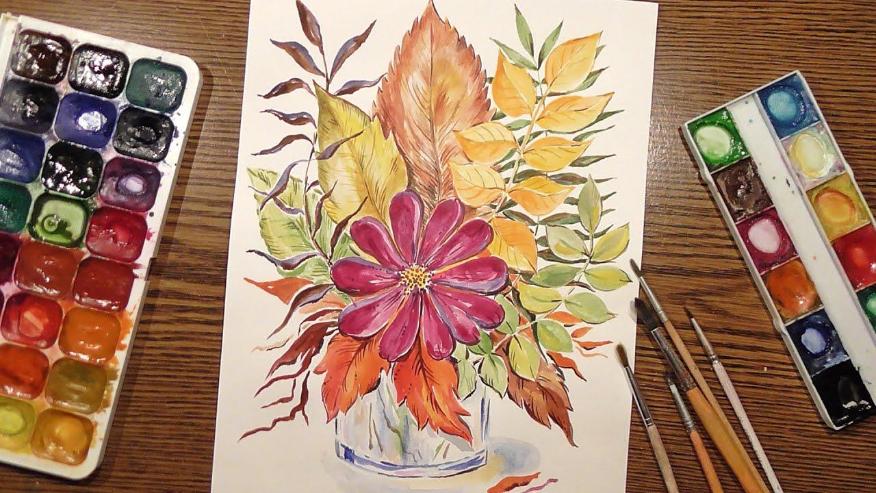 Как нарисовать вазу с осенними листьями поэтапно   подборка (25)