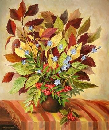 Как нарисовать вазу с осенними листьями поэтапно - подборка (7)