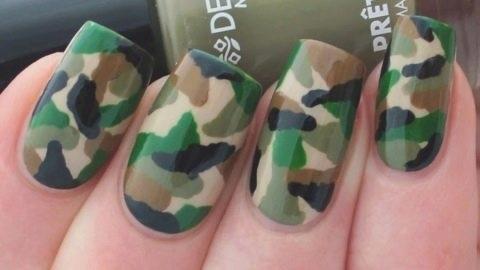Как на ногтях нарисовать камуфляж001