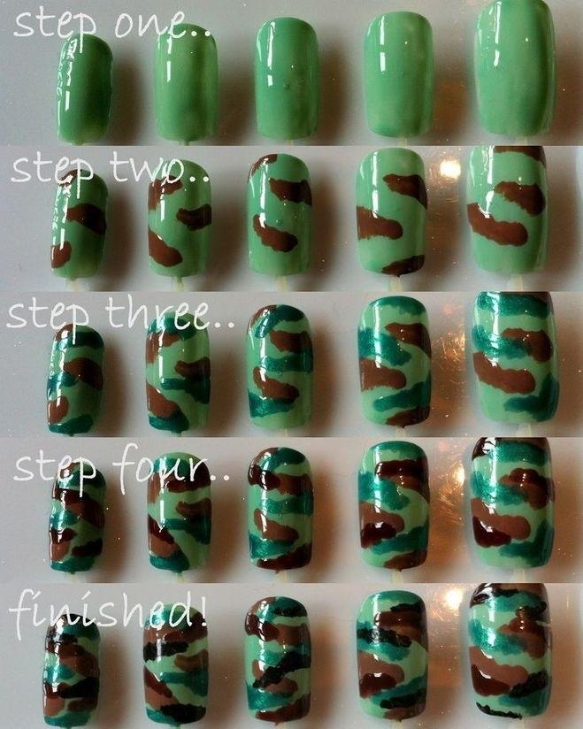 Как на ногтях нарисовать камуфляж002