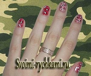 Как на ногтях нарисовать камуфляж006