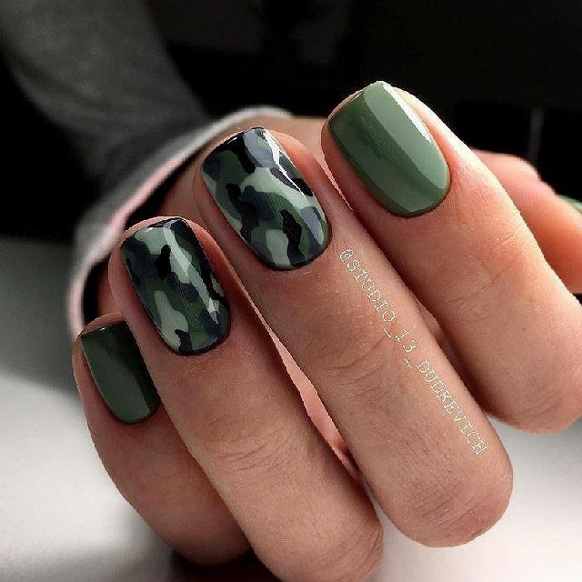 Как на ногтях нарисовать камуфляж014