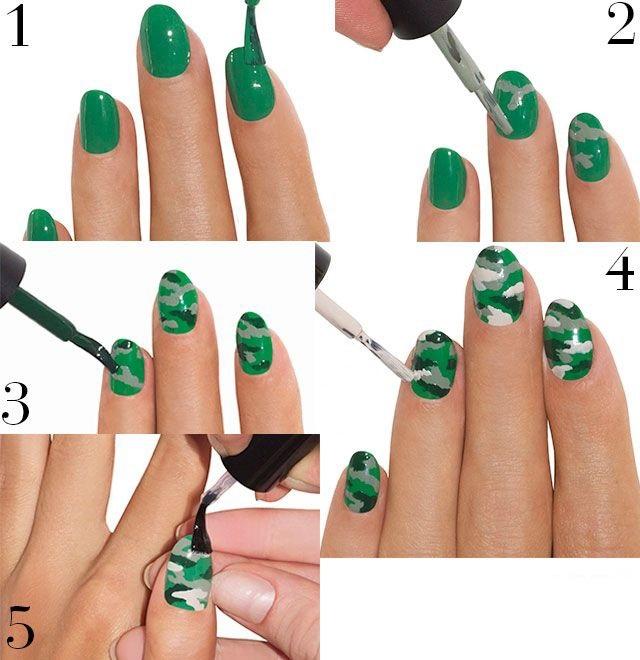 Как на ногтях нарисовать камуфляж017