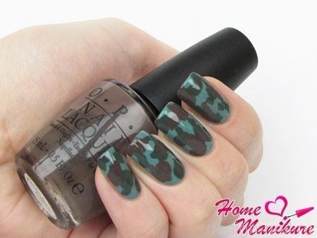Как на ногтях нарисовать камуфляж020