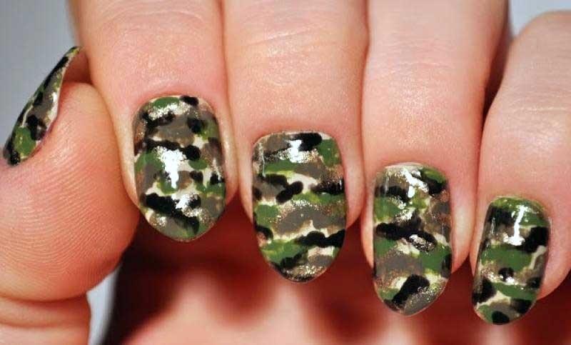 Как на ногтях нарисовать камуфляж021