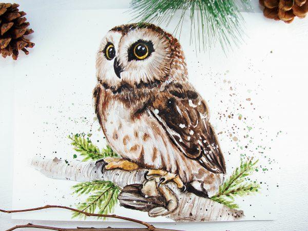 Как раскрасить гуашью сову - идеи и картинки (12)