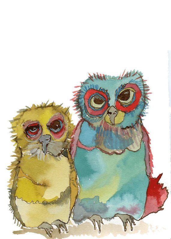 Как раскрасить гуашью сову - идеи и картинки (13)