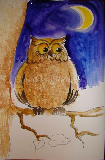 Как раскрасить гуашью сову - идеи и картинки (23)