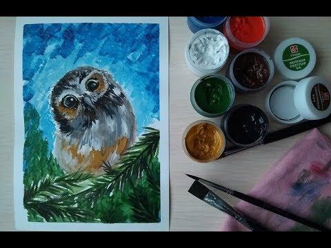 Как раскрасить гуашью сову - идеи и картинки (24)