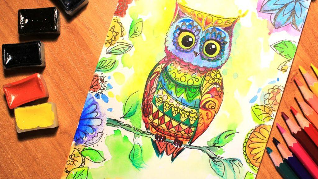 Как раскрасить гуашью сову - идеи и картинки (26)