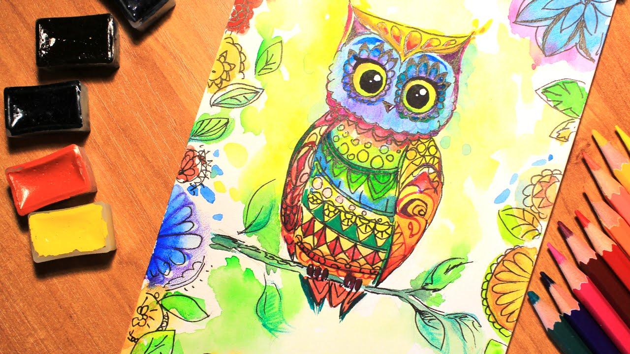 Как раскрасить гуашью сову   идеи и картинки (26)