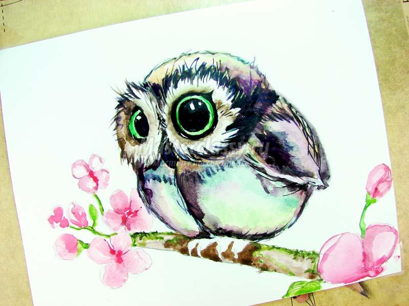 Как раскрасить гуашью сову - идеи и картинки (29)