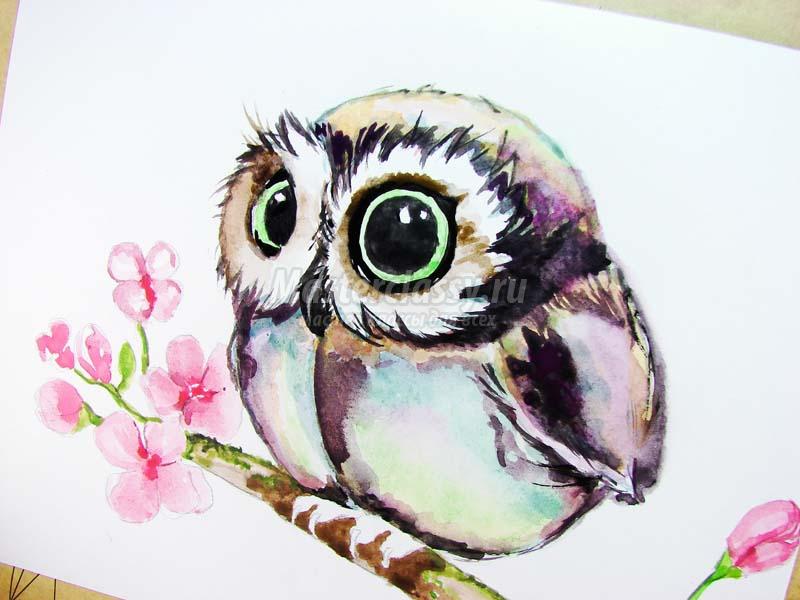 Как раскрасить гуашью сову - идеи и картинки (32)