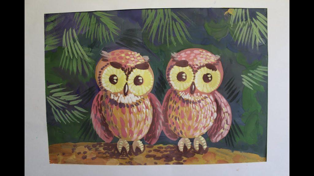 Как раскрасить гуашью сову - идеи и картинки (6)