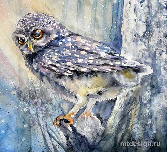 Как раскрасить гуашью сову - идеи и картинки (7)