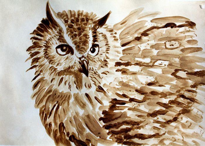 Как раскрасить гуашью сову - идеи и картинки (9)