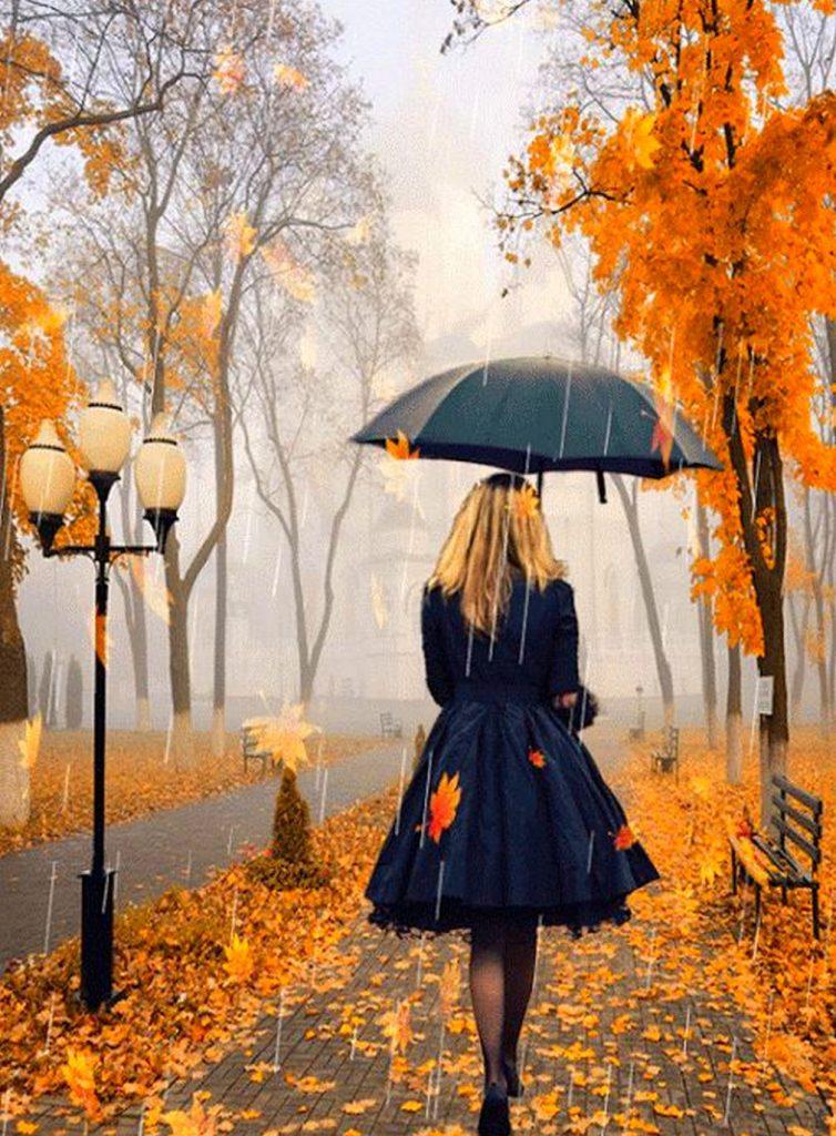 Картинка на аву для девушки блондинки осень со спины (6)