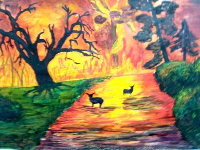 Картинки и рисунки на тему пожар в лесу001