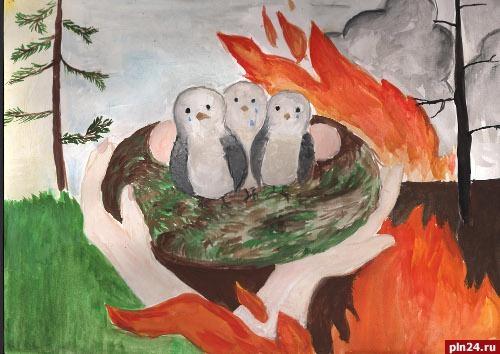 Картинки и рисунки на тему пожар в лесу006