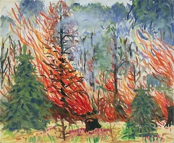Картинки и рисунки на тему пожар в лесу011
