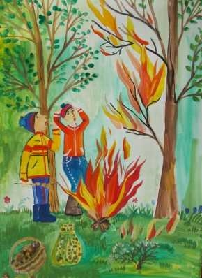Картинки и рисунки на тему пожар в лесу018