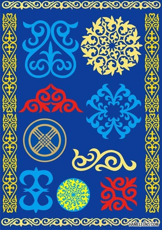 Картинки рамки для фотошопа казахский орнамент010