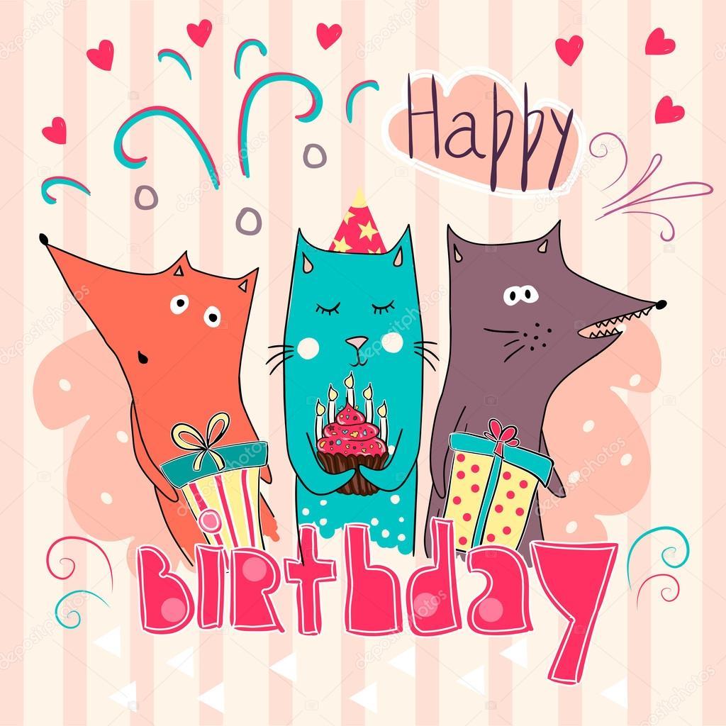 Картинки с днем рождения - фото животных (1)