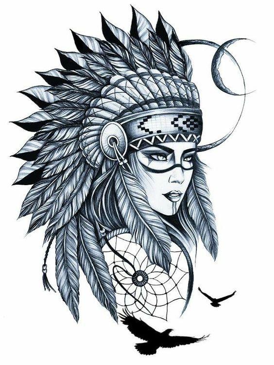 Классные эскизы индейцы - подборка картинок (16)