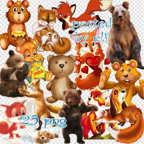 Клипарт животные для детей на прозрачном фоне - сборка (12)