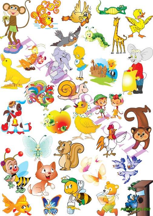 Клипарт животные для детей на прозрачном фоне - сборка (2)