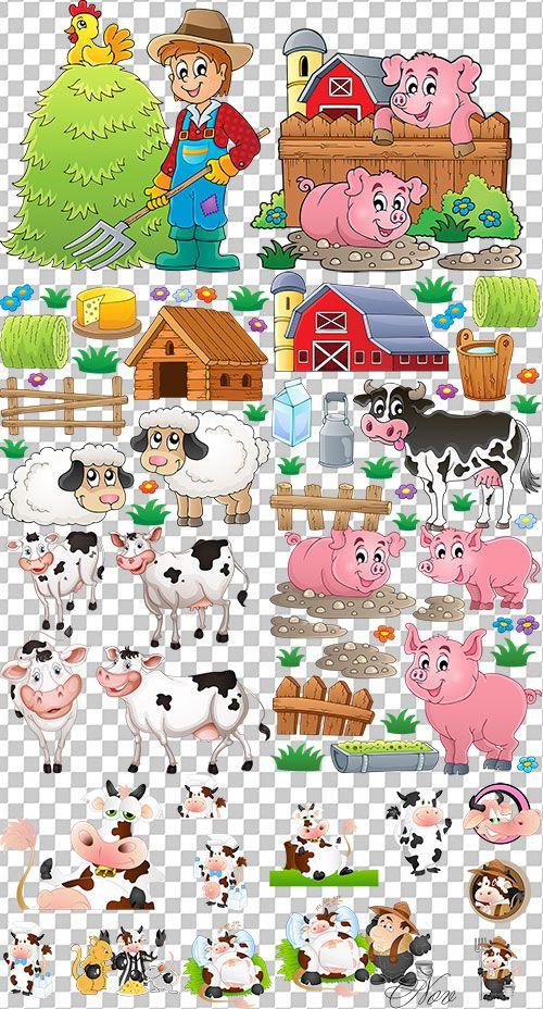 Клипарт животные для детей на прозрачном фоне - сборка (31)