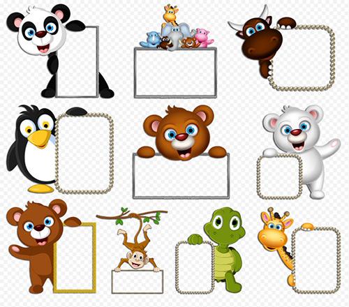 Клипарт животные для детей на прозрачном фоне - сборка (8)