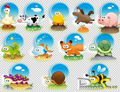 Клипарт животные для детей на прозрачном фоне (16)