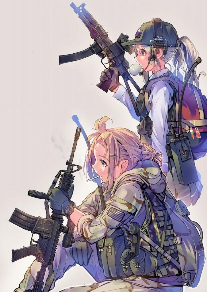 Красивые картинки аниме девочки с оружием001