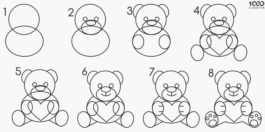 Как рисовать мишку на открытку